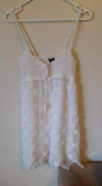 dress half crochet knit chiffon material white floral pattern pretty sweet cute lovely tie bow cream beige short long straps sleeveless love really blouse top light dark lolita loli loose tight formal casual lace layers ruffle