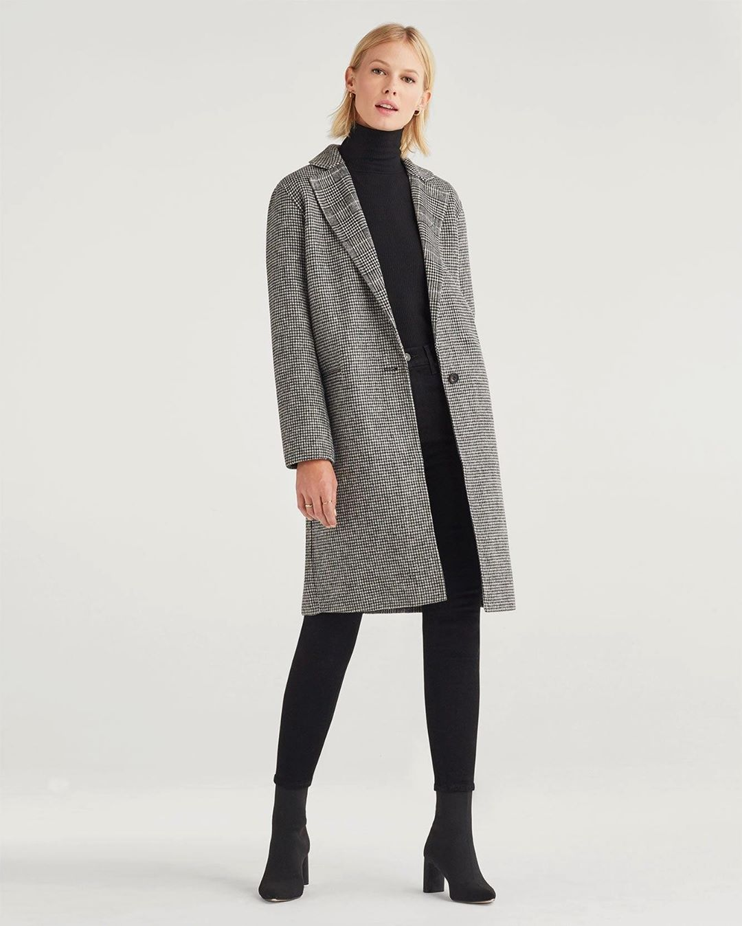 Houndstooth Wool Long Trench Coat