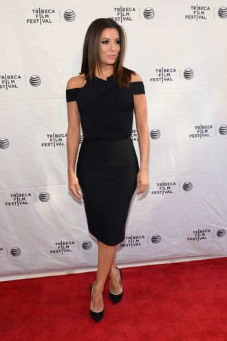 dress black dress eva longoria midi dress pumps all black everything