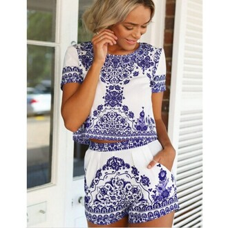 pants blue white blue and white printed top short pants shorts suit two-piece girl fashion blue and white porcelain vintage classic creative new arrival new best outfit summer shirt porcelain print