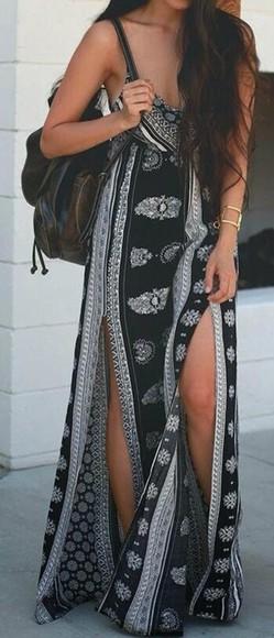 aztec tribal pattern aztec print skirt boho dress o neill cute black and white aztecs long cut maxi bandana print spaghetti strap spaghetti straps dress long dress thigh high slit navy
