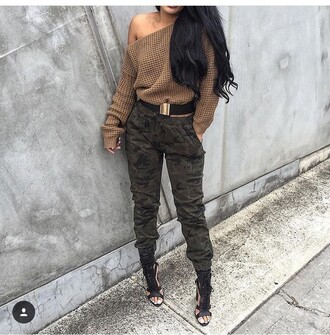 pants camouflage camo pants outfit fall outfits winter outfits cute outfits spring outfits date outfit sweater long sleeves off the shoulder heels 5 inch and up shoes cute top cute high heels high heels sexy shoes black heels black shoes black high heels belt waist belt