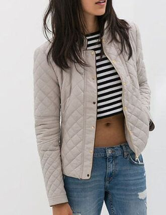 jacket quilted white jacket gold