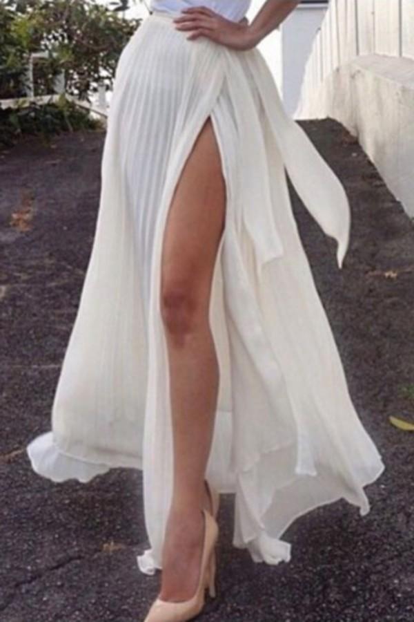Skirt Zaful White White Skirt Long Skirt White Long