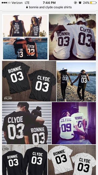 shirt bonnie and clyde bonnie and clyde couples jersey shirt black
