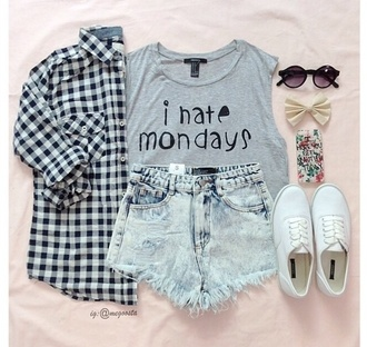 top quote on it t-shirt black shorts plaid shirt denimn clothes fashion outfit style cute vintage shoes monday cardigan shirt