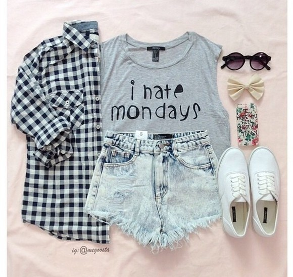 shoes black shorts t-shirt top vintage plaid shirt clothes style fashion t shirt with a quote denimn outfits cute monday