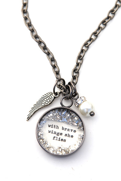 With Brave wings she flies SMALL Charm  by bethquinndesigns