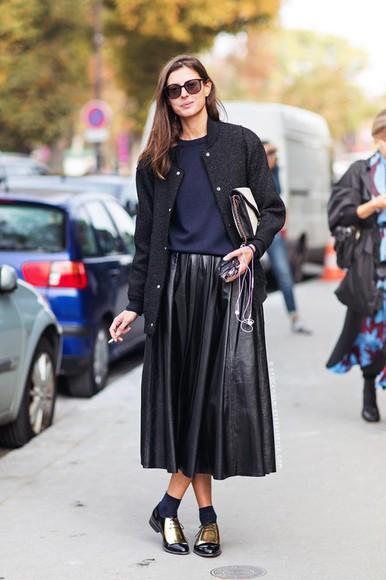 baseball jacket jacket blogger bag le fashion socks pleated skirt derbies leather skirt