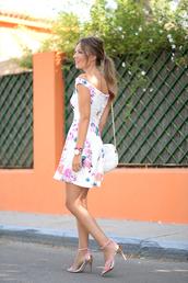dress,bardot dress,floral dress,mini dress,short dress,sandals,sandal heels,high heel sandals,summer dress,summer outfits,date outfit,date dress,white bag,bag,shoulder bag