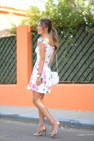 dress bardot dress floral dress mini dress short dress sandals sandal heels high heel sandals summer dress summer outfits date outfit date dress white bag bag shoulder bag