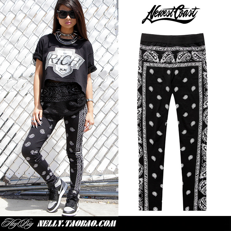 Cashew flowers amoeba west coast five pointed star tight legging hiphop-inSocks & Hosiery from Apparel & Accessories on Aliexpress.com