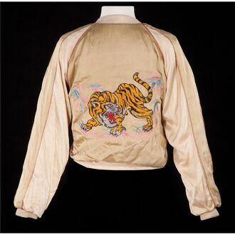 jacket yellow tiger motif laracroft lightjacket embroidered