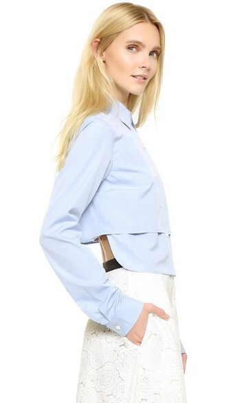 shirt cropped shirt long cropped light blue light blue top