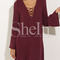 Wine red lacing long sleeve designs lace up dress -shein(sheinside)