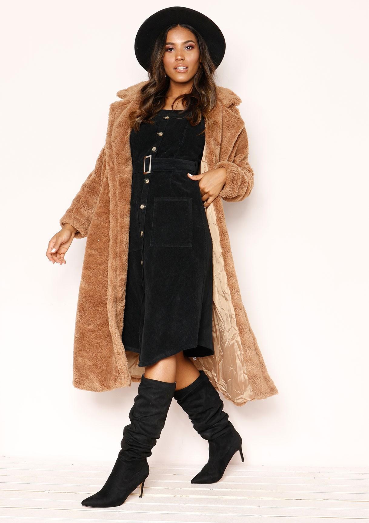 Arla Black Corduroy Button Up Dress