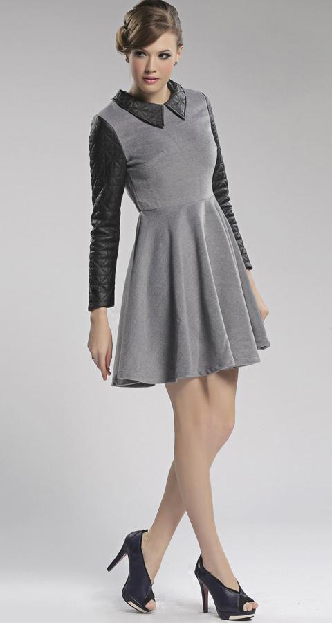 [US$46.99] - Gray Wool Splice Skirt Long Sleeve Dress : ThatsPoint.com