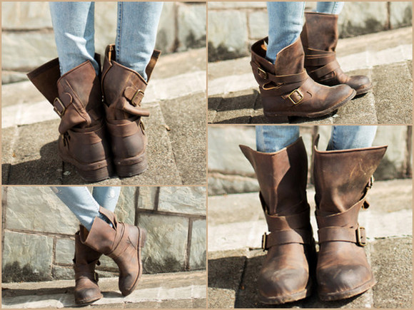 shoes caramel leather biker shoes boots biker boots leather shoes vintage boots brown leather boots brown shoes boho boho