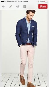 jacket,menswear,navy blue jacket,light blue shirt,cream tight pants,light brown shoes