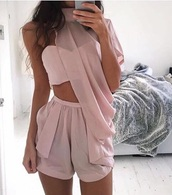jumpsuit,pink,blush rose,colorful,elegant,dress,flowing dress,pink dress,fashionista,short jumpsuit,romper,cute,sexy,hot,wow,outfit,blouse,boho,satin,flowy,summer,blush pink,beige,jumper,gold,tan,choker necklace,crop tops,shorts,turtleneck,matching set,one piece,one shoulder,dusty pink,party dress,girly,romantic,party outfits,sexy outfit,clothes,tumblr outfit,two pieces outfit,chiffon,asymmetrical