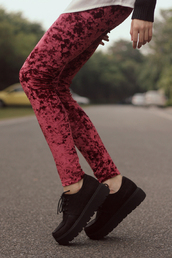 shoes,black,cute,soft,love,creepers,soft grunge,lace up,pants,velvet,red,leggings