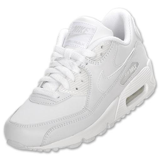 Boys' Grade School Nike Air Max 90 Running Shoes| FinishLine.com | White/White