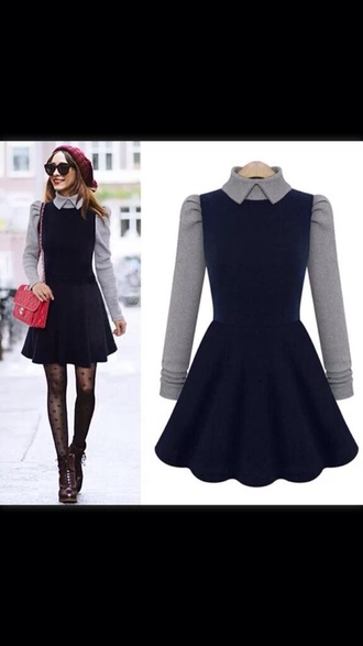 dress grey black dress winter dress collared dress cute