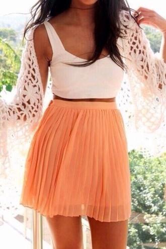 white skirt tank top cute sweater orange skirt pleated skirt mini skirt summer outfits cardigan crop tops date
