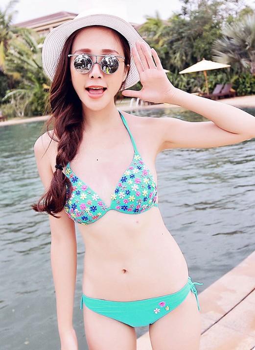 Characteristic & Photogenic Two-piece Flower Printing Bikini Swimwear---Green _Bikinis_Swimwear_Apparel_Fashion Dresses,Casual Clothes,Wholesale Clothing