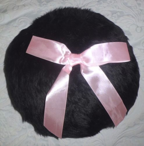 HANDMADE BLACK FAUX FUR ROUND PILLOW CUSHION COVER CASE PINK RIBBON SHABBY CHIC | eBay