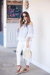 fashionably kay,blogger,top,shoes,bag,sunglasses,jewels,wedges,off the shoulder top,blue top,round bag,white jeans,spring outfits