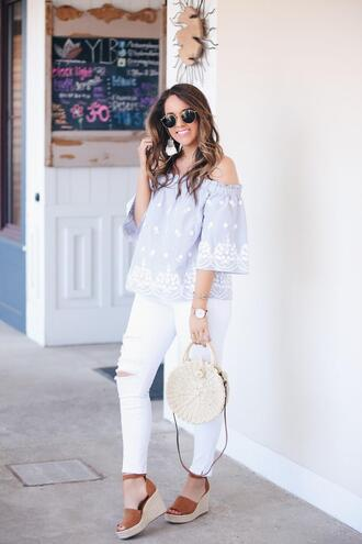 fashionably kay blogger top shoes bag sunglasses jewels wedges off the shoulder top blue top round bag white jeans spring outfits