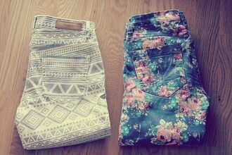pants flowers green red pink pattern jeans floral cute aztec print adorbs swag print pants tribal pattern white grey flowered dark folded floral jeans tribal jeans colorful floral pants high waisted