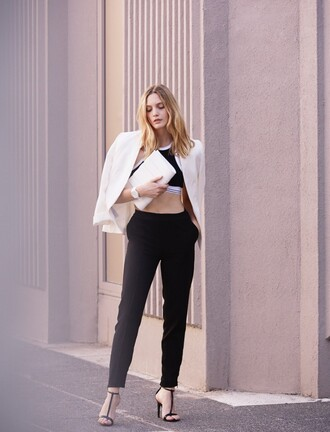 my life in pink blogger crop tops black pants white jacket blazer t-strap heels classy black and white