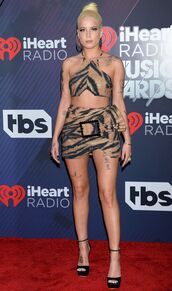 skirt,mini skirt,top,crop tops,halsey,iheartradio,sandals,platform sandals,tiger print,animal print,shoes