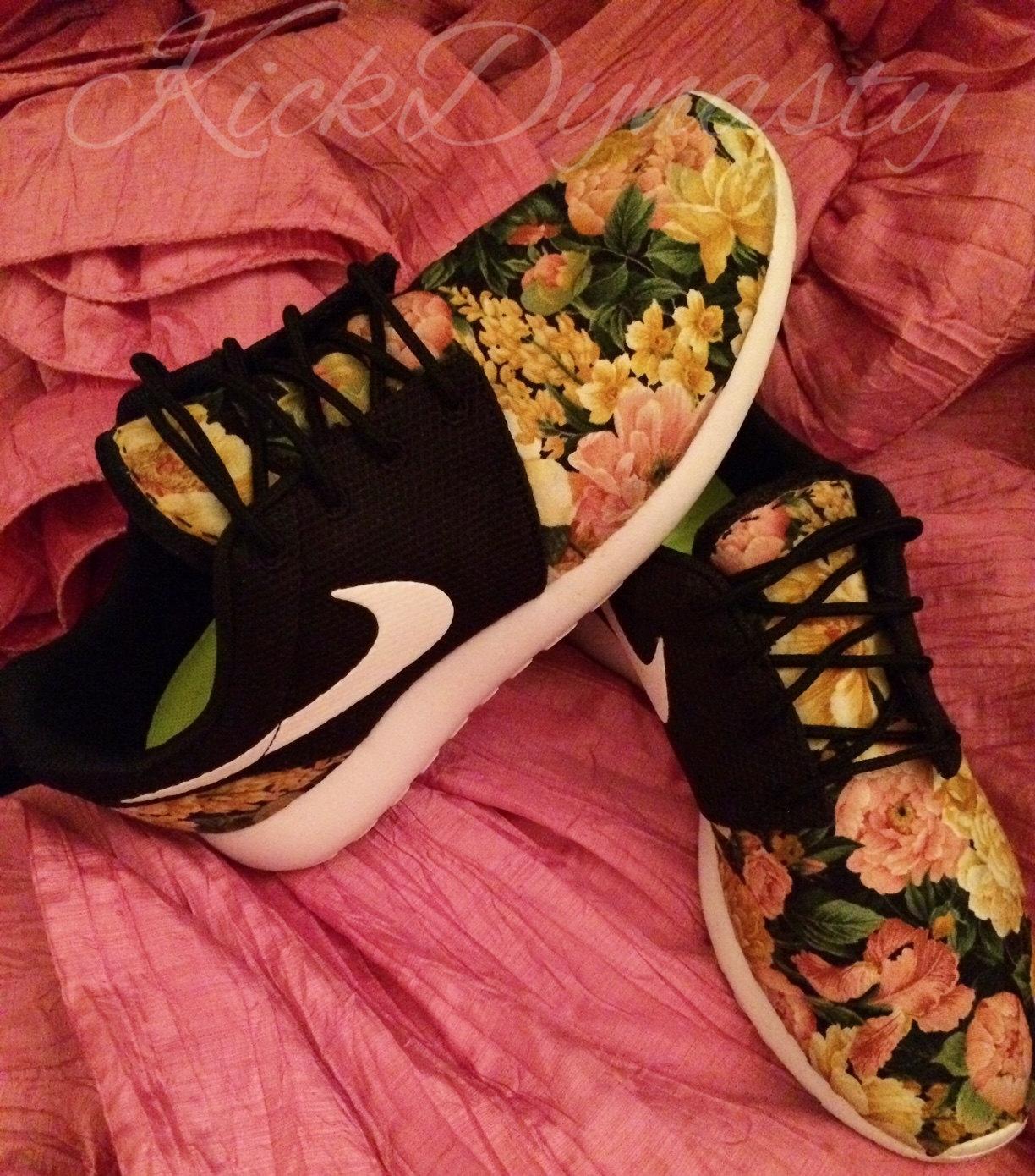 e62d8c407a9e Nike Roshe Run Floral Sneakers Supreme Style Men s   Women s Sizes