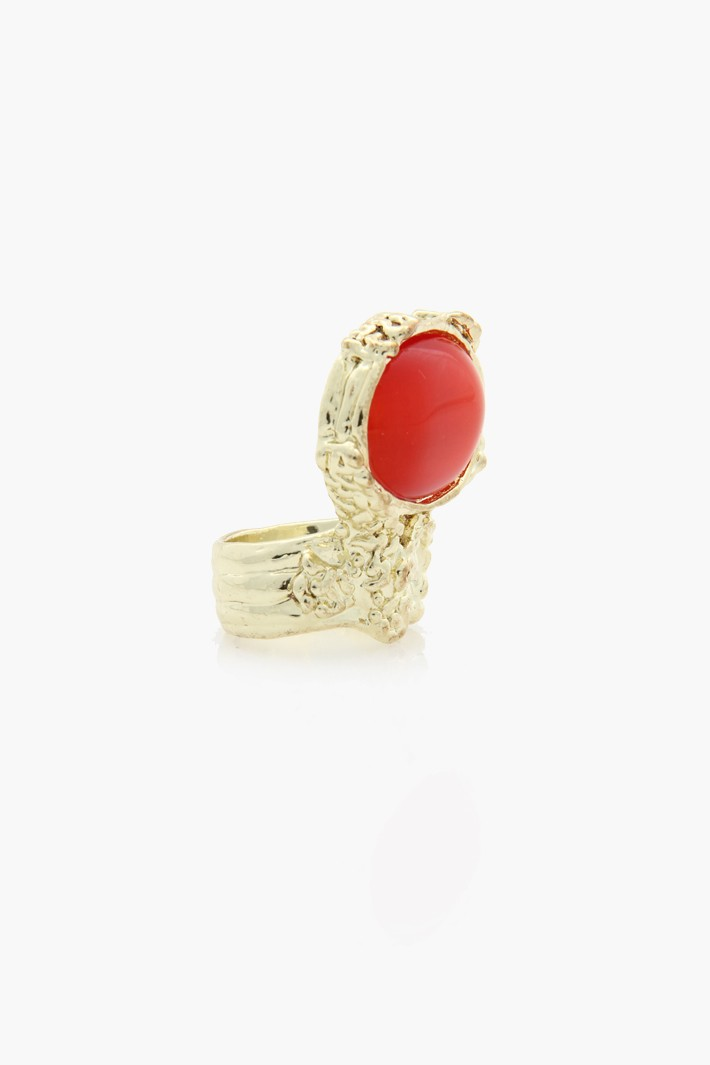 YSL ARTY OVAL RING CLONE - Red Clear