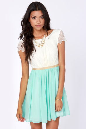 Pretty Lace Dress - Cream Dress - Blue Dress - $79.00