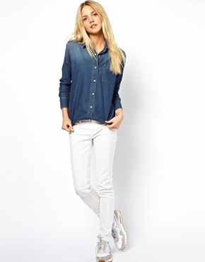 ASOS | ASOS Denim Shirt in Dark Vintage Wash at ASOS
