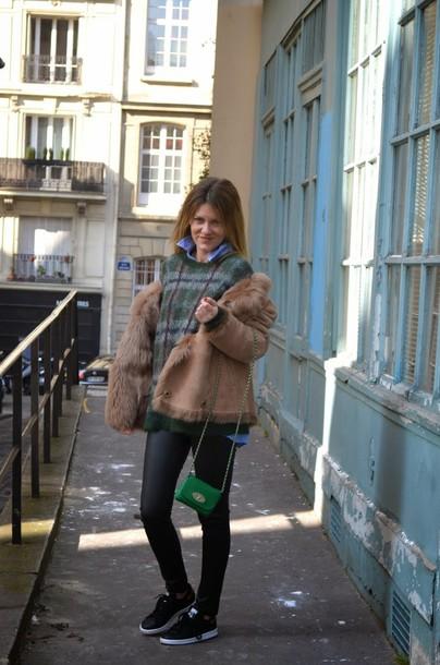 babymodeuse blogger shearling jacket mini bag tartan winter sweater leather leggings coat sweater shirt shoes