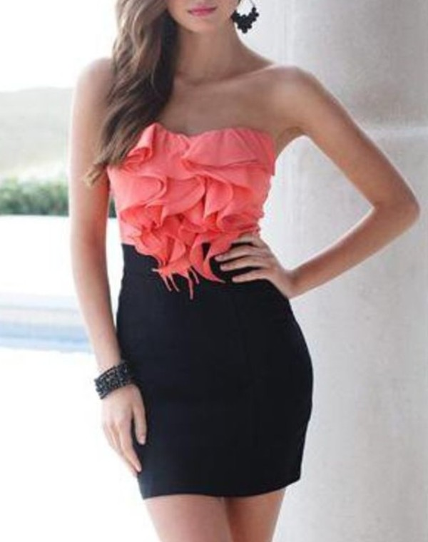 dress black coral bodycon