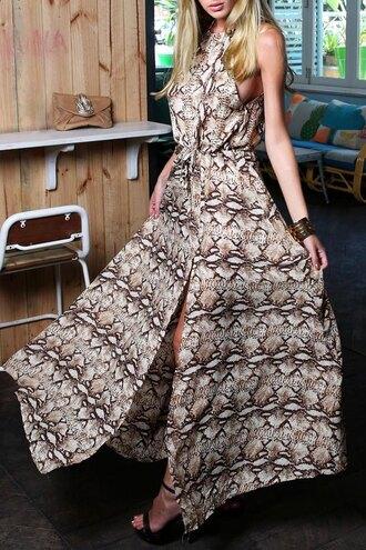 dress maxi dress pattern fashion style halter neck long dress animal print snake print clothes zaful