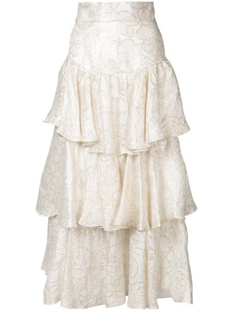 Bambah skirt ruffle women gold white cotton