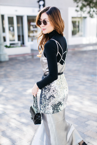 skirt tumblr mini skirt silver silver skirt sequins sequin skirt silver dress slip dress satin dress satin top black top turtleneck black turtleneck top bag black bag mini bag sunglasses round sunglasses glitter date outfit