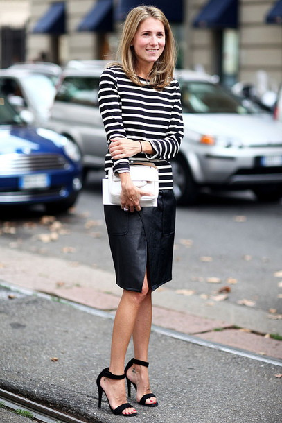 skirt work outfits streetstyle midi skirt slit skirt asymmetrical asymmetrical skirt top striped top long sleeves sandals sandal heels bag white bag office outfits fall outfits high heel sandals black sandals ankle strap heels