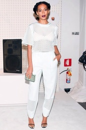 shirt,white,solange knowles,see through crop top,top,all white outfit,all white everything,white top,white pants,mesh,mesh top,mesh pants,dope,jumpsuit