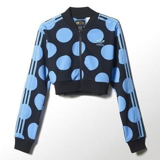 jacket adidas polka dots blue black cropped