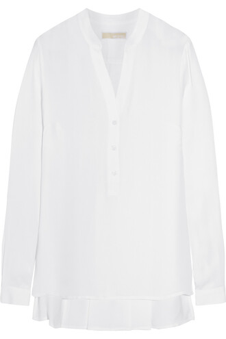 blouse pleated silk white top