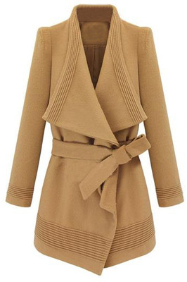 Irregular Lapel Lacing Camel Coat - Polyvore