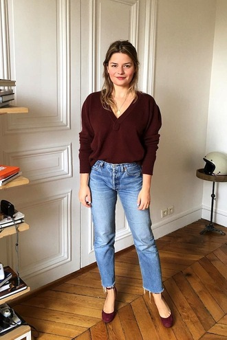 lefashion blogger sweater jeans shoes brown sweater v neck cropped jeans straight jeans pumps ankle strap heels